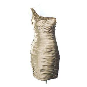 Adrianna Papell Beaded One Shoulder Dress Sz 4